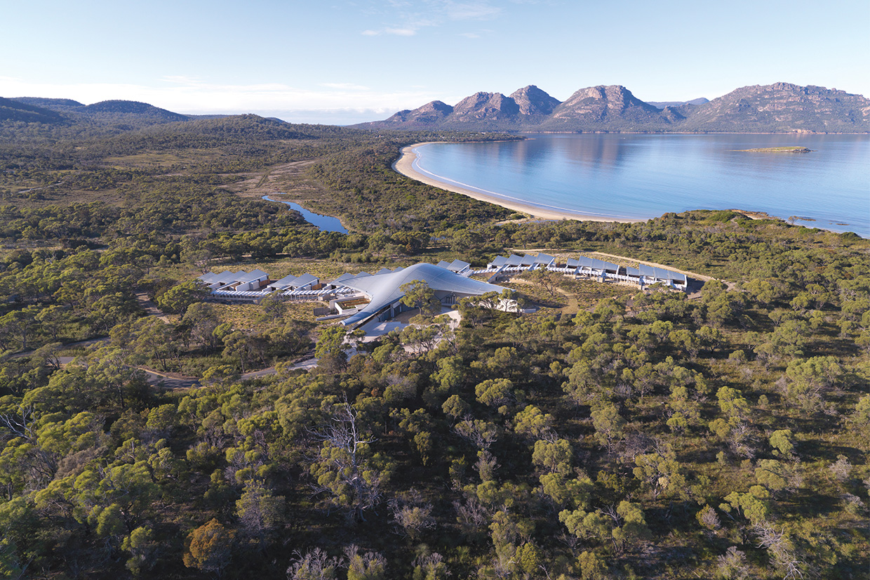 Saffire Freycinet view from the sky
