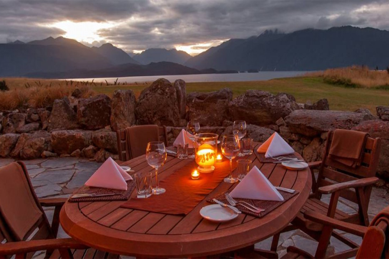 Fiordland Lodge fine dining and great view