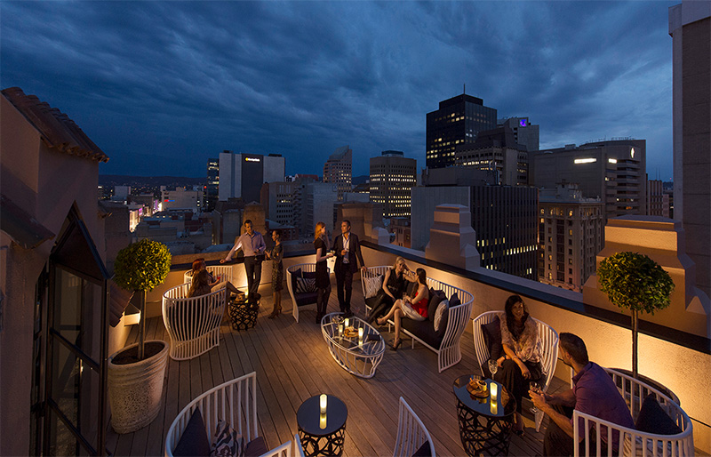 Mayfair Hotel rooftop by night