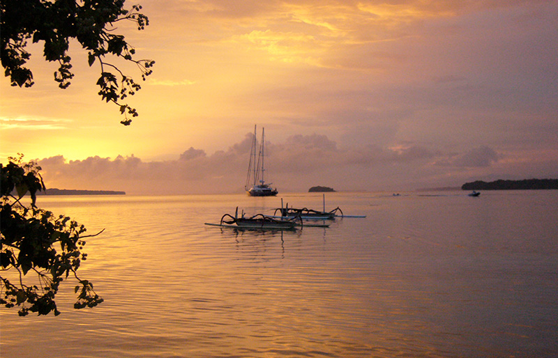 Amazing sunset of Vanuatu Islands